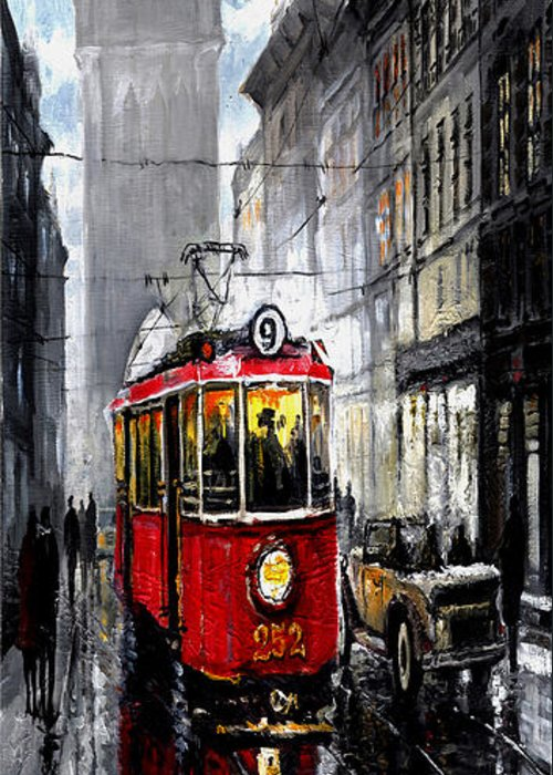 Prague Greeting Card featuring the mixed media Red Tram by Yuriy Shevchuk