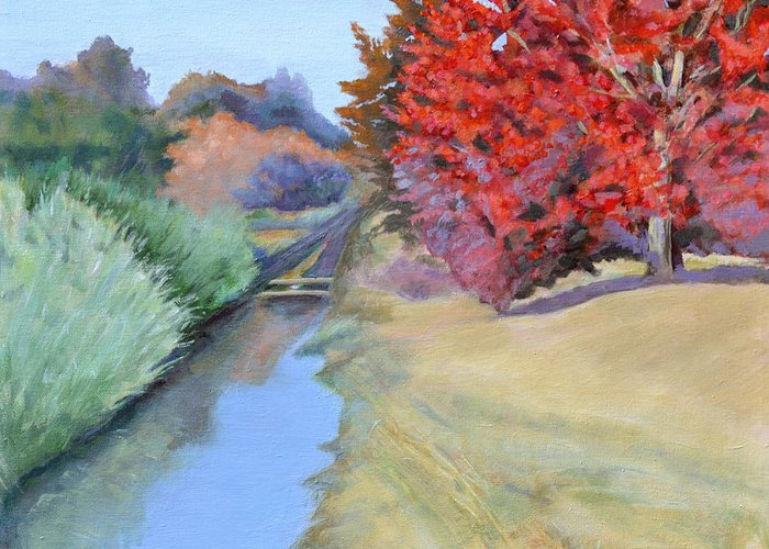 Landscape Greeting Card featuring the painting Red Tree and River by Mary Chant