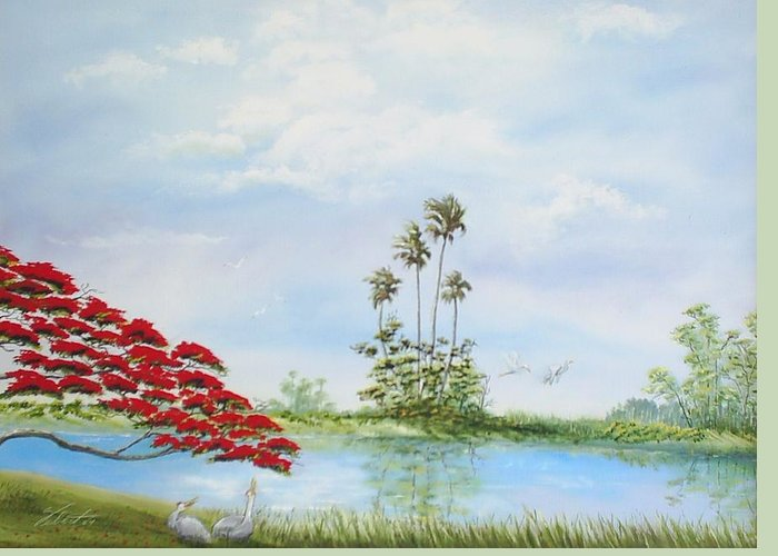 Landscape Greeting Card featuring the painting Red Tree by Dennis Vebert