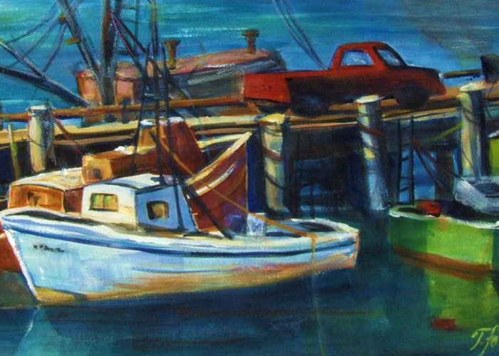 Morro Rock Greeting Card featuring the painting Red Truck On Old Morro Bay Pier by Therese Fowler-Bailey