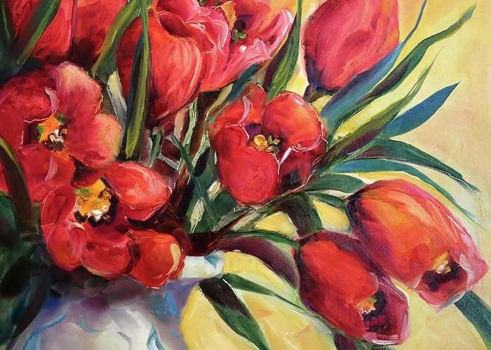 Red Tulips Greeting Card featuring the painting Red Tulip Kiss by Laurie Pace