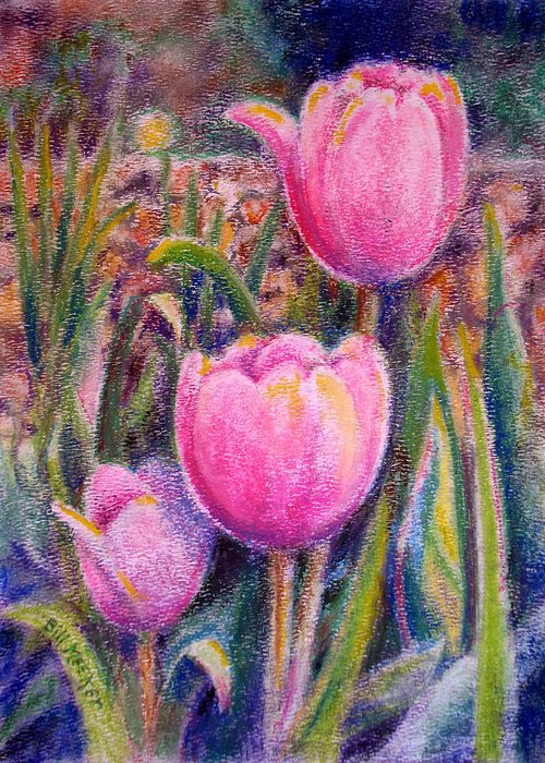 Floral Greeting Card featuring the painting Red Tulip Trio by Bill Meeker