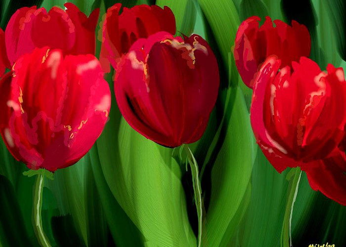 Flower Greeting Card featuring the digital art Red Tulips by Margaret Wingstedt