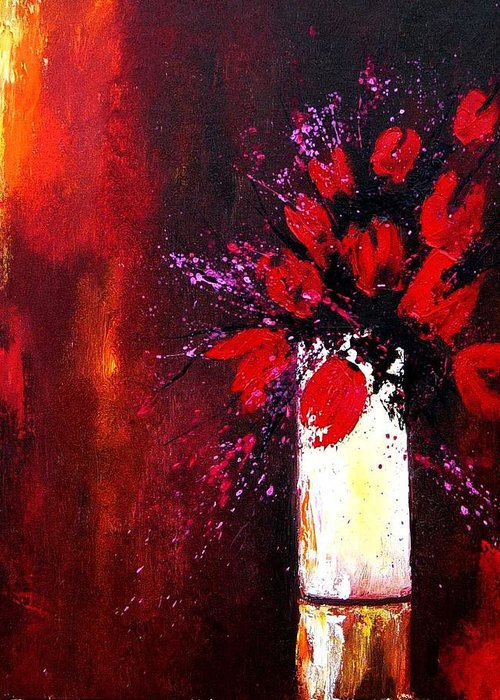 Flowers Greeting Card featuring the painting Red Tulips by Pol Ledent