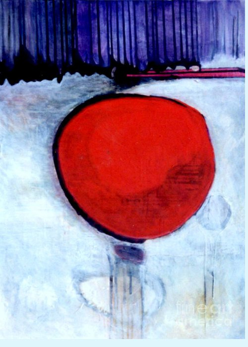 Red Greeting Card featuring the painting Red Twin Jump Start by Marlene Burns
