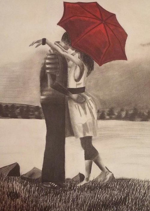 Red Umbrella Black And White Greeting Card featuring the drawing Red Umbrella by Alexius Brown