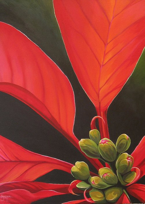 Poinsettia Closeup Greeting Card featuring the painting Red Velvet by Hunter Jay