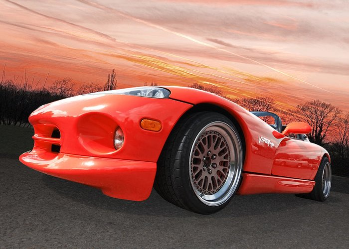 Dodge Viper Greeting Card featuring the photograph Red Viper Rt10 by Gill Billington