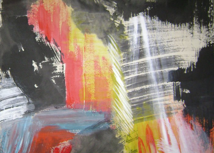 Abstract Greeting Card featuring the mixed media Red Waterfalls by Lian Zhen