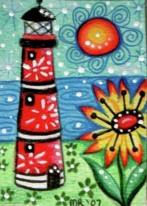 Whimsical Greeting Card featuring the painting Red Whimsical Lighthouse by Monica Resinger