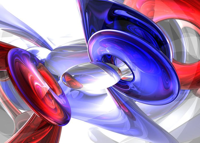 3d Greeting Card featuring the digital art Red White And Blue Abstract by Alexander Butler