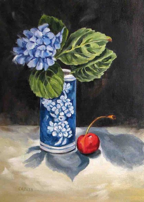 Still Life Greeting Card featuring the painting Red White And Blue by Cheryl Pass
