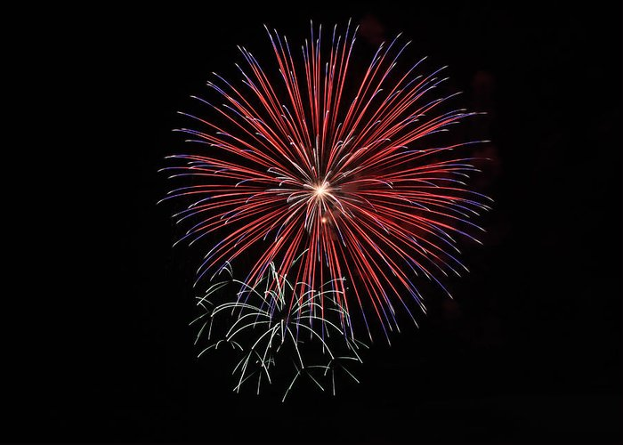 Fireworks Greeting Card featuring the photograph Red White And Blue by Chuck Bailey