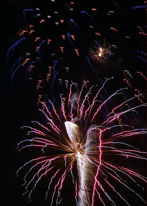 Fireworks Greeting Card featuring the photograph Red White And Blue by Heather Green