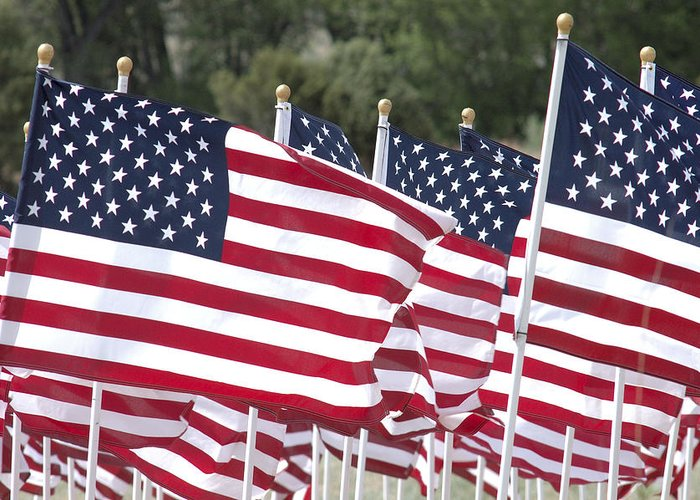 Flag Greeting Card featuring the photograph Red White And Blue by Jerry McElroy