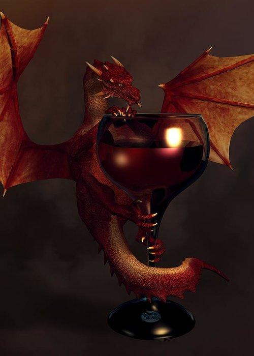 Wine Greeting Card featuring the digital art Red Wine Dragon by Daniel Eskridge