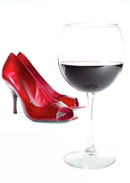 Red Wine Greeting Card featuring the photograph Red Wine Glass Red Shoes by Dustin K Ryan