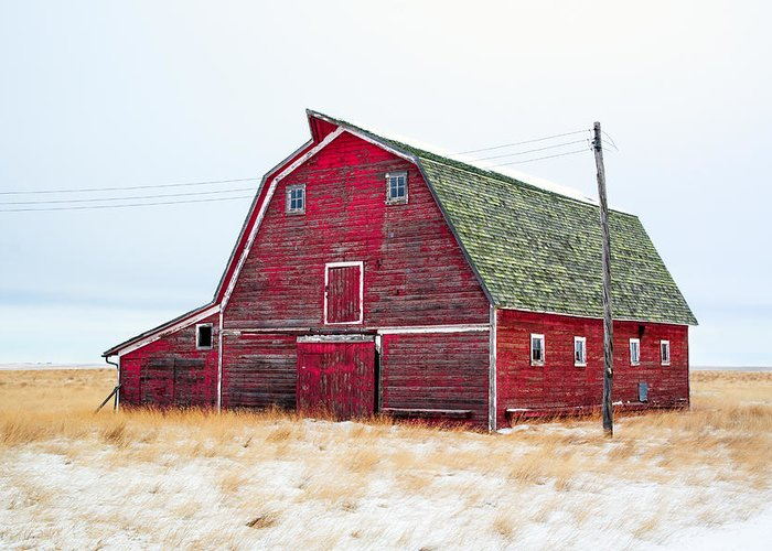 Red Greeting Card featuring the photograph Red Winter Barn by Todd Klassy