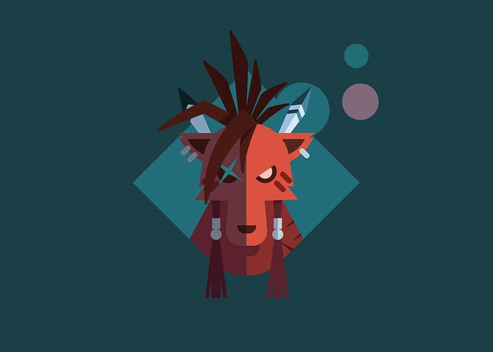 Ffvii Greeting Card featuring the digital art Red XIII by Michael Myers
