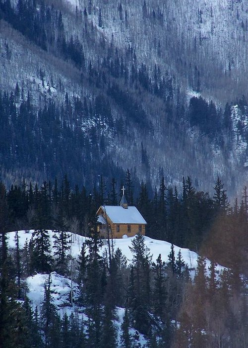Landscape Greeting Card featuring the photograph Redcloud Chapel In Blue by David Ackerson