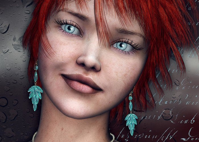 3d Greeting Card featuring the digital art Redhead by Jutta Maria Pusl