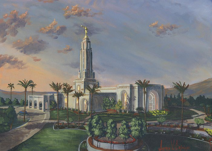 Redlands Greeting Card featuring the painting Redlands Temple by Jeff Brimley
