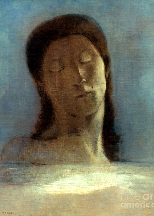 1890 Greeting Card featuring the photograph Redon: Closed Eyes, 1890 by Granger