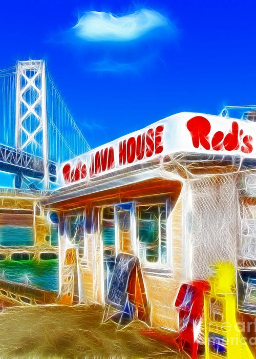 San Francisco Greeting Card featuring the photograph Red's Java House Electrified by Wingsdomain Art and Photography