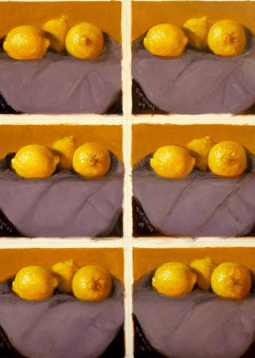 Realism Greeting Card featuring the painting Redundant Lemons by Donelli DiMaria