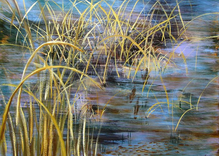 Reeds Greeting Card featuring the painting Reeds In The Water by Art Nomad Sandra Hansen