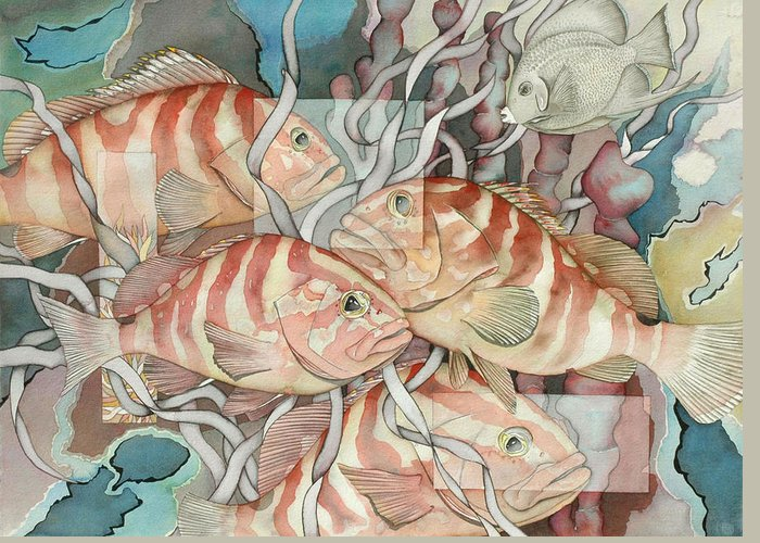 Fish Greeting Card featuring the painting Reef Story by Liduine Bekman