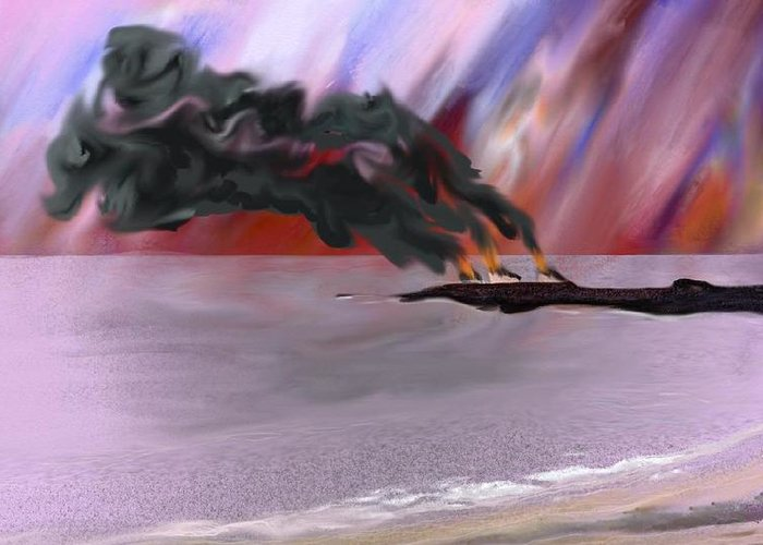 Puerto Rico Refinery Fires Greeting Card featuring the digital art Refinery Fires by Tony Rodriguez