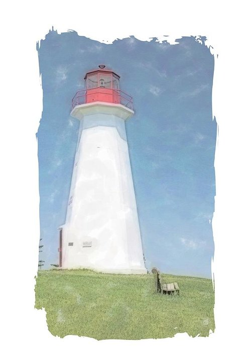 Lighthouse Greeting Card featuring the painting Reflect At Cape George Lighthouse by Nadine Berg