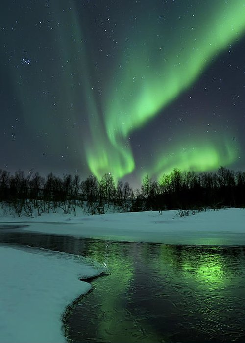 Green Greeting Card featuring the photograph Reflected Aurora Over A Frozen Laksa by Arild Heitmann