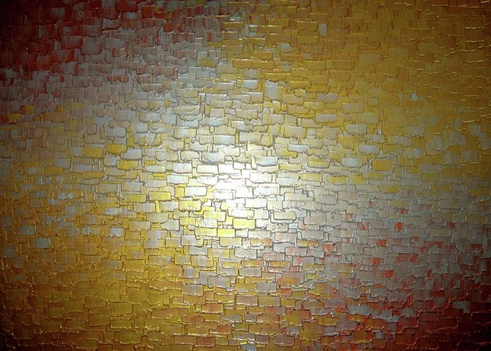 Abstract Gold Bronze Copper Silver Reflective Original Metallic Textured Contemporary Art Palette Knife Impasto Painting By Lafferty Greeting Card featuring the painting Reflected Dreams by Daniel Lafferty