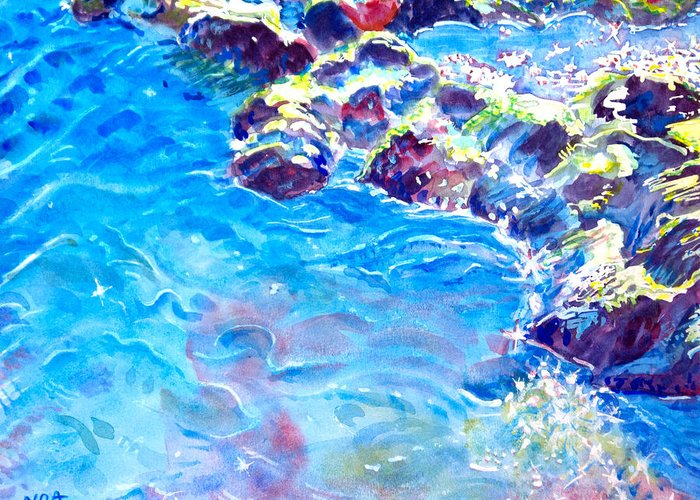 Seascape Greeting Card featuring the painting Reflected Light by Aymeric NOA
