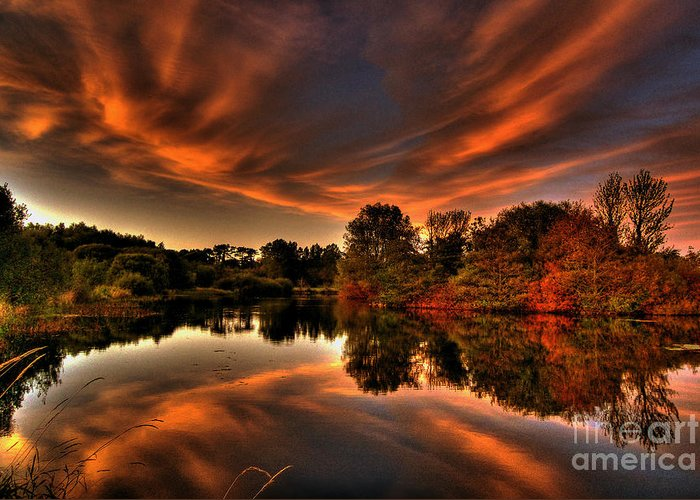 Sunset In Ireland Pictures Greeting Card featuring the photograph Reflecting Autumn by Kim Shatwell-Irishphotographer
