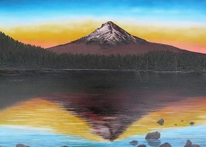 This Paintiing Is A View Of Mount Hood From Trillium Lake At Sunset In The Summer. Greeting Card featuring the painting Reflecting On Trillium by Darla Boljat