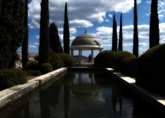 Malaga Greeting Card featuring the photograph Reflecting Pool by Obi Martinez