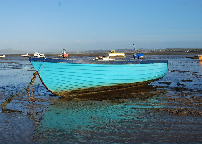 Seascape. Boats Greeting Card featuring the photograph Reflecting The Blues by Peter Jenkins