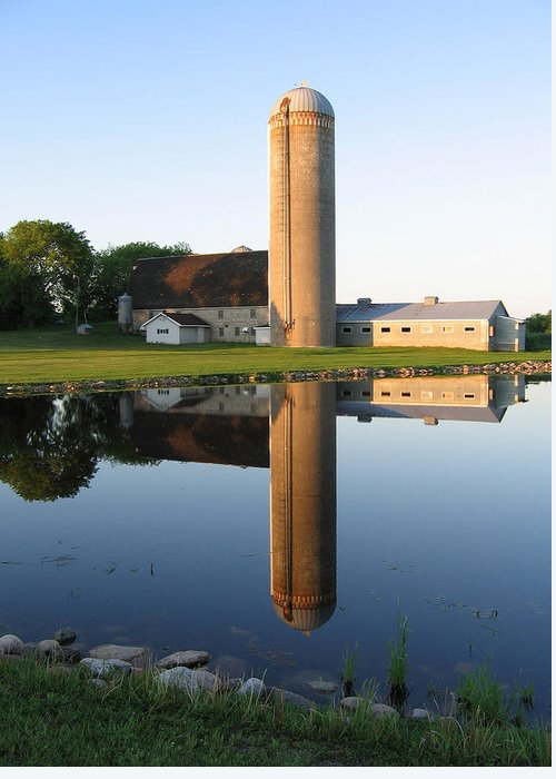 Barns Greeting Card featuring the photograph Reflection Barn by Laurie With