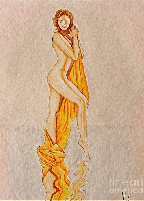 Nude Greeting Card featuring the painting Reflection by Herschel Fall
