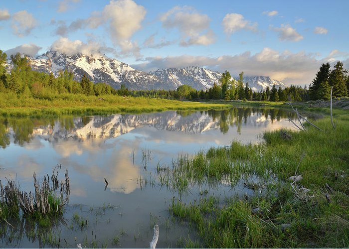 Grand Teton National Park Greeting Card featuring the photograph Reflection In Snake River At Grand Teton by Ray Mathis