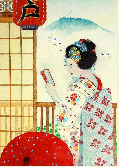 Japanese Canvas Prints Greeting Card featuring the painting Reflection by John YATO