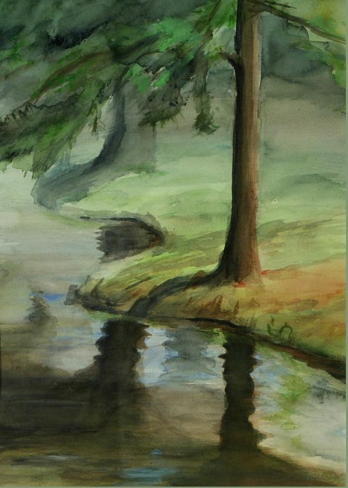 Trees Greeting Card featuring the painting Reflection by Lori McCray