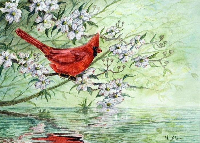 Wildlife Painting Greeting Card featuring the painting Reflection by Michael Scherer
