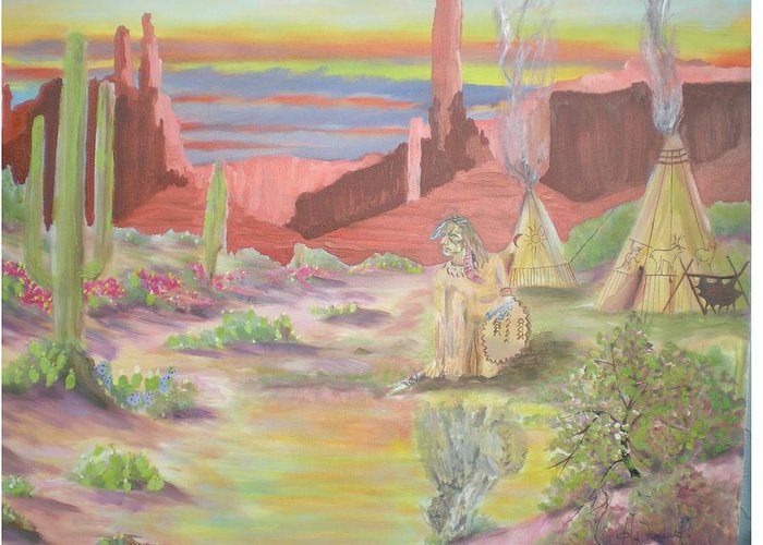 Landscape Greeting Card featuring the painting Reflection Of A Warrior by Hal Newhouser