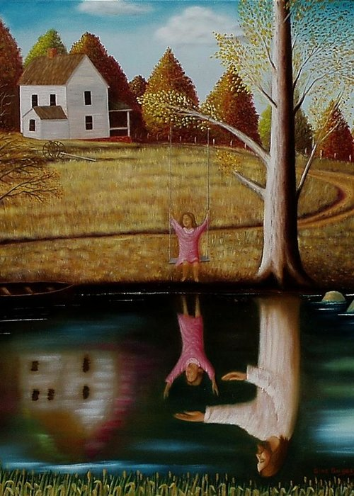 Original Sold Greeting Card featuring the painting Reflection Of Protection. by Gene Gregory