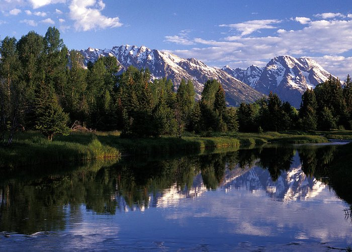 Reflection Greeting Card featuring the photograph Reflection Of The Teton Mountans by Richard Nowitz