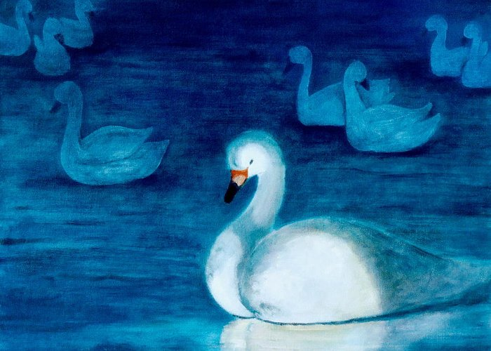 Duck Greeting Card featuring the painting Reflections 1 by Jun Jamosmos